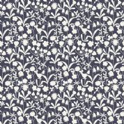 Lewis & Irene Bluebell Wood - 4577 - Black Floral Silhouette - A129.3 - Cotton Fabric